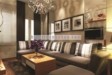 Thiết kế nội thất phòng khách và phòng ngủ hiện đại cho căn hộ chung cư