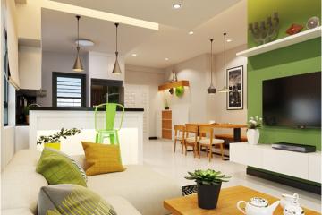 Thiết kế căn hộ hiện đại với gam màu xanh chủ đạo