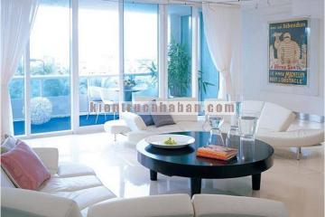 Thiết kế phòng khách sang trọng với kiểu dáng sofa hình vòng cung