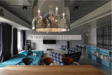 Nội thất căn hộ chung cứ với gam màu xanh-đen ấn tượng