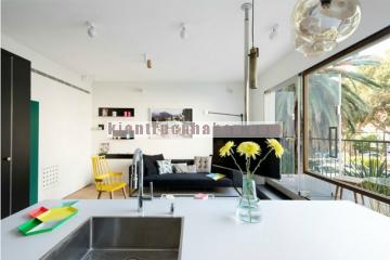 Thiết kế nội thất căn hộ với 2 gam màu đen trắng hiện đại