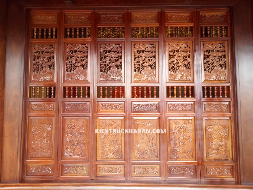 cửa gỗ hoa sơn tịnh thất